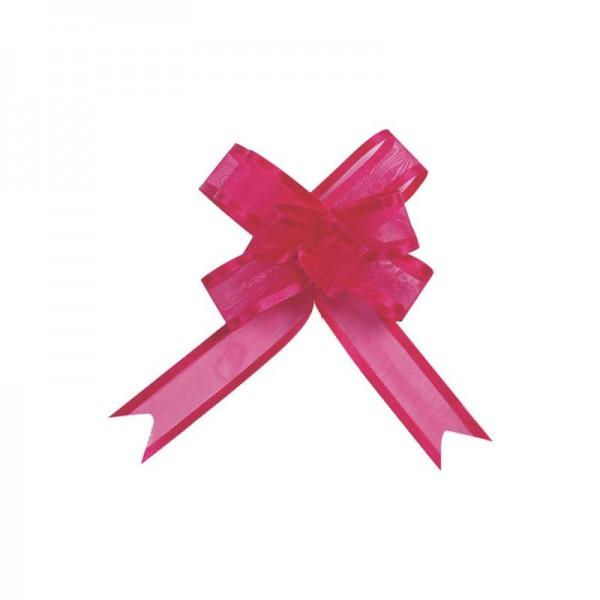 Ziehschleifen Geschenkschleifen fuchsia 8cm x 4,5cm aus Organza mit Satinkante 5 Stück
