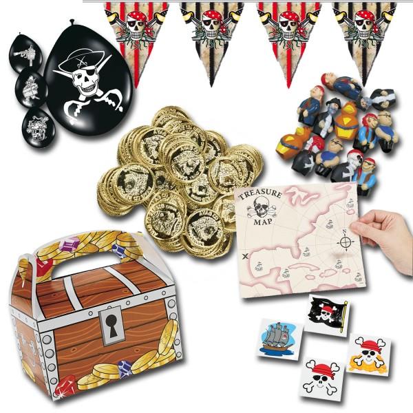 Piratenparty Mitgebsel Set B mit 225 Teilen Schatzkiste Schatzkarte Ballons Fingerpuppen