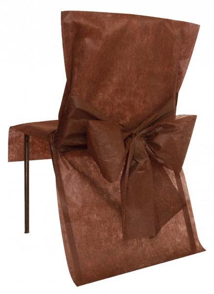 Stuhlhussen Einweghussen aus schokobraunem Vlies 10 Stück
