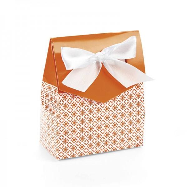 Geschenkboxen Faltboxen Orange mit Schleife 12 Stück