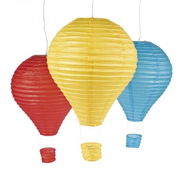 Lampion Laternenset Heißluftballon in 3 verschiedenen Farben 3 Stück