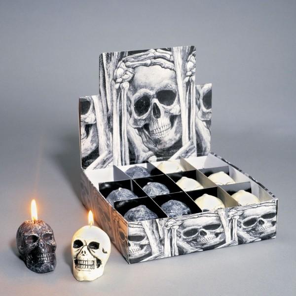 Halloween Totenkopf Kerzen aus Wachs klein 12 Stück