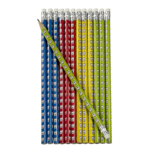 Zahn Zähnchen Bleistifte mit Radiergummi 12 Stück