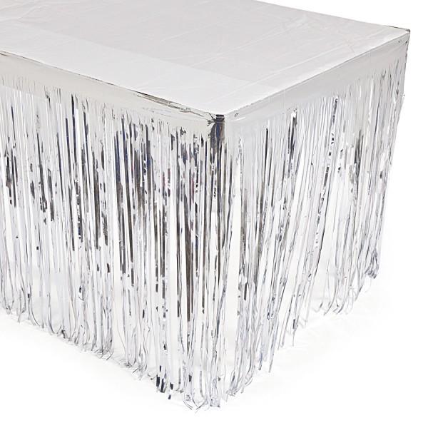 Silvester Tischumrandung in Silber aus Folie Tischdeko 2,74m