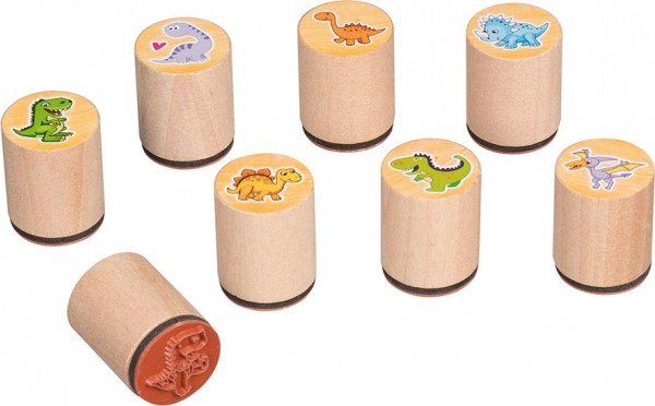 Holzstempel Stempel Dinosaurier Dino 8 Stück von goki