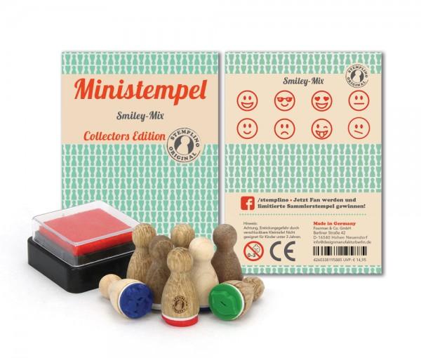 Holz-Stempel Smiley Mix 8 Stück mini