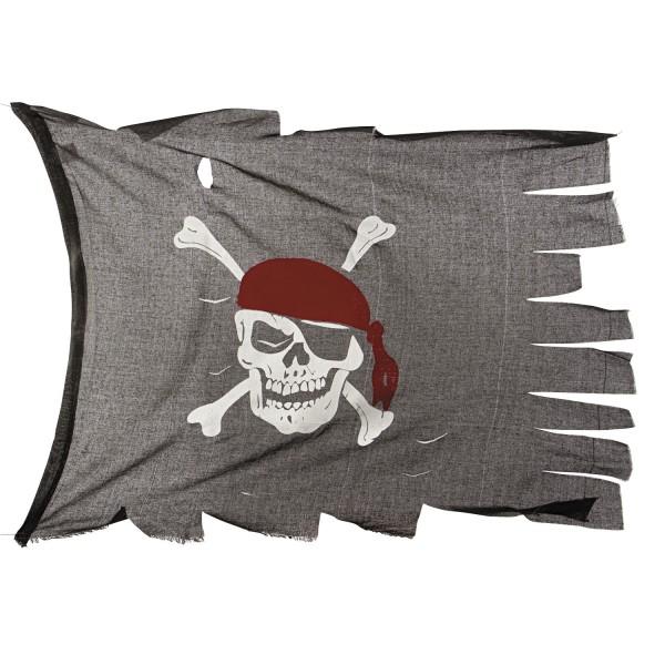 Pirat Piraten Flagge, Fahne mit Totenkopf zerfetzt für Piratenparty