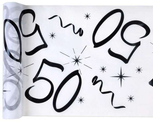 Tischläufer Vlies Zahl 50 Geburtstag 5m