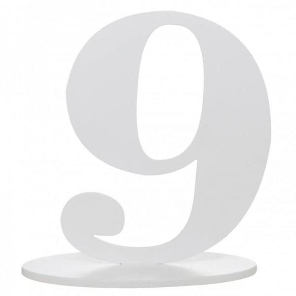 XXL Tischdeko Tisch-Zahl 9 aus Holz in Weiß Geburtstag 1 Stück