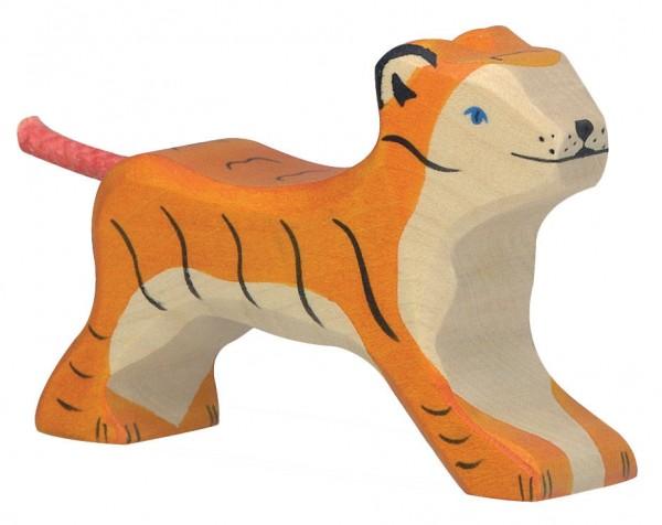 Tiger klein laufend Safari Holzfigur Holzspielzeug von Holztiger