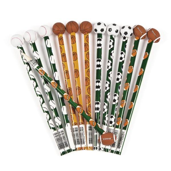 Bleistifte mit Radiergummi in Fussball Basketball Baseball und Football Design 12 Stück