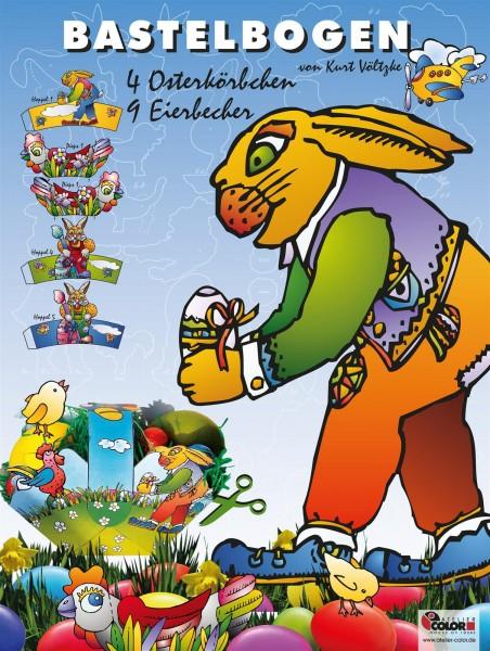Bastelbogen Ostern mit Osterkörbchen und Eierbechern