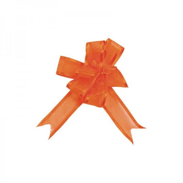 Ziehschleifen Geschenkschleifen orange 8cm x 4,5cm aus Organza mit Satinkante 5 Stück