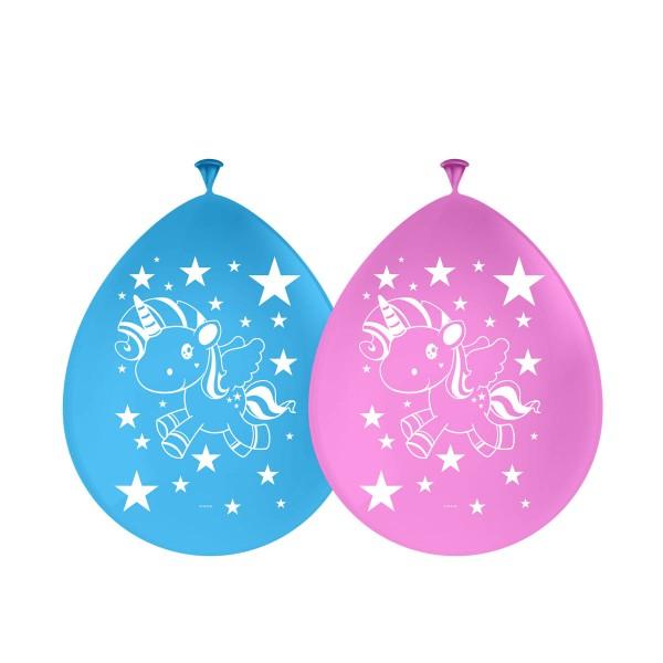 Einhorn Ballons Luftballons Blau und Rosa 8 Stück