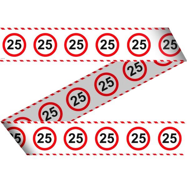 Absperrband für den 25 Geburtstag 15m lang