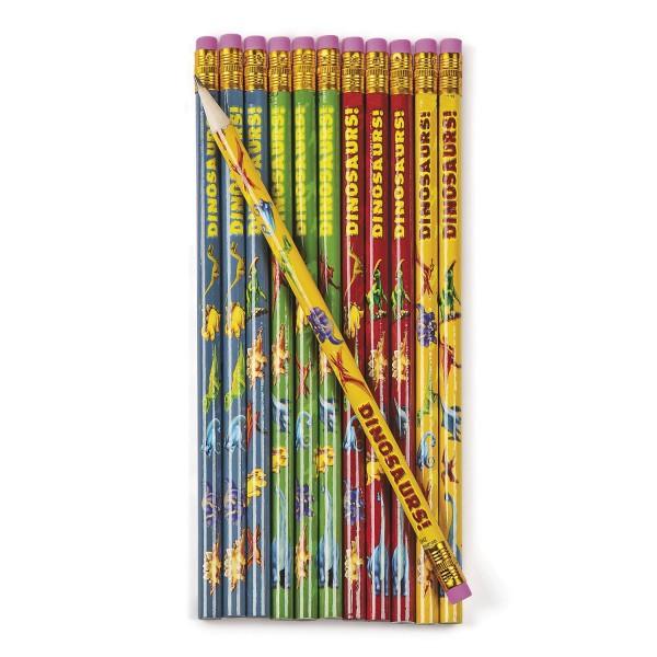 Dinosaurier Bleistifte mit Radiergummi und verschiedenen Dino Motiven 12 Stück