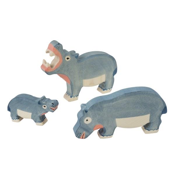 Holztiger Nilpferd Flusspferd Set mit 3 Holzfiguren