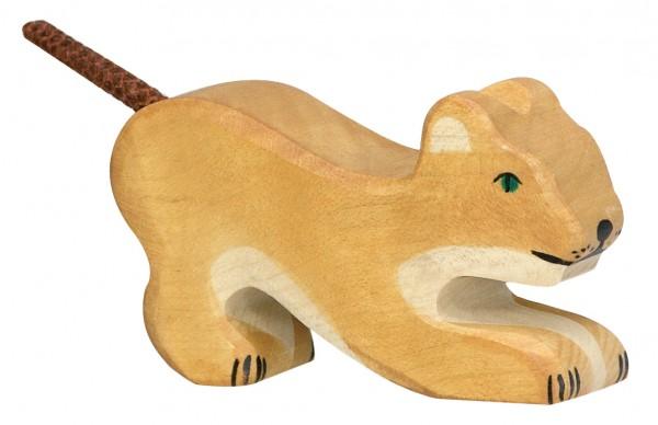 Holztiger Löwe klein spielend Safari Holzfigur