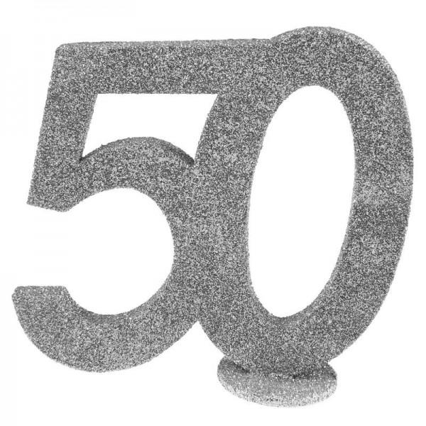 XXL Tischdeko Zahl 50 Geburtstag Silber Glitzer 1 Stück