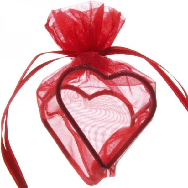 Herz Organzabeutel für Gastgeschenk rot 4 Stück