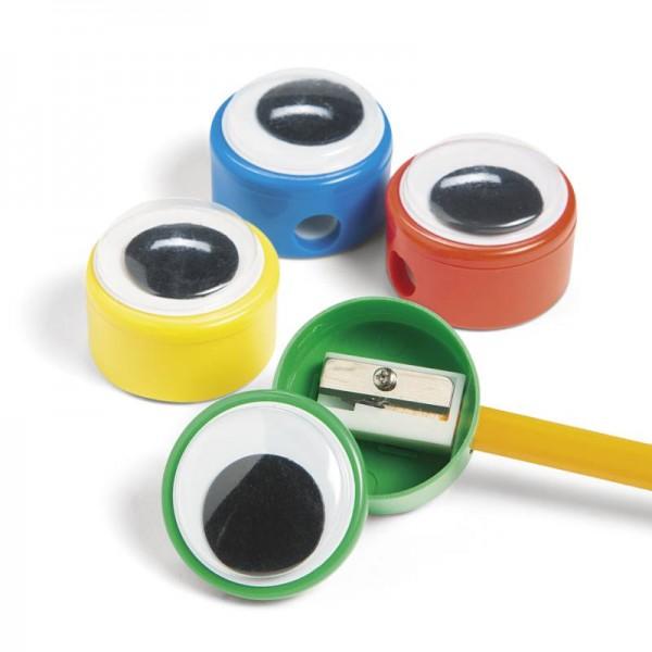 Wackelaugen Anspitzer 6 Stück in bunten Farben
