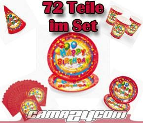 Party-Set Happy Birthday mit 72 Teilen