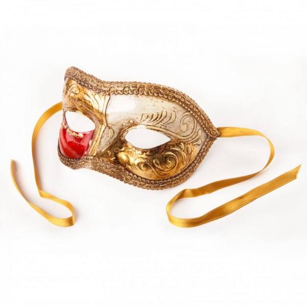 Venezianische Maske Colombina Gold Weiß Rot