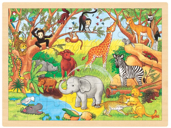 Puzzle aus Holz Einlegepuzzle Safari Afrika goki 48 Teile