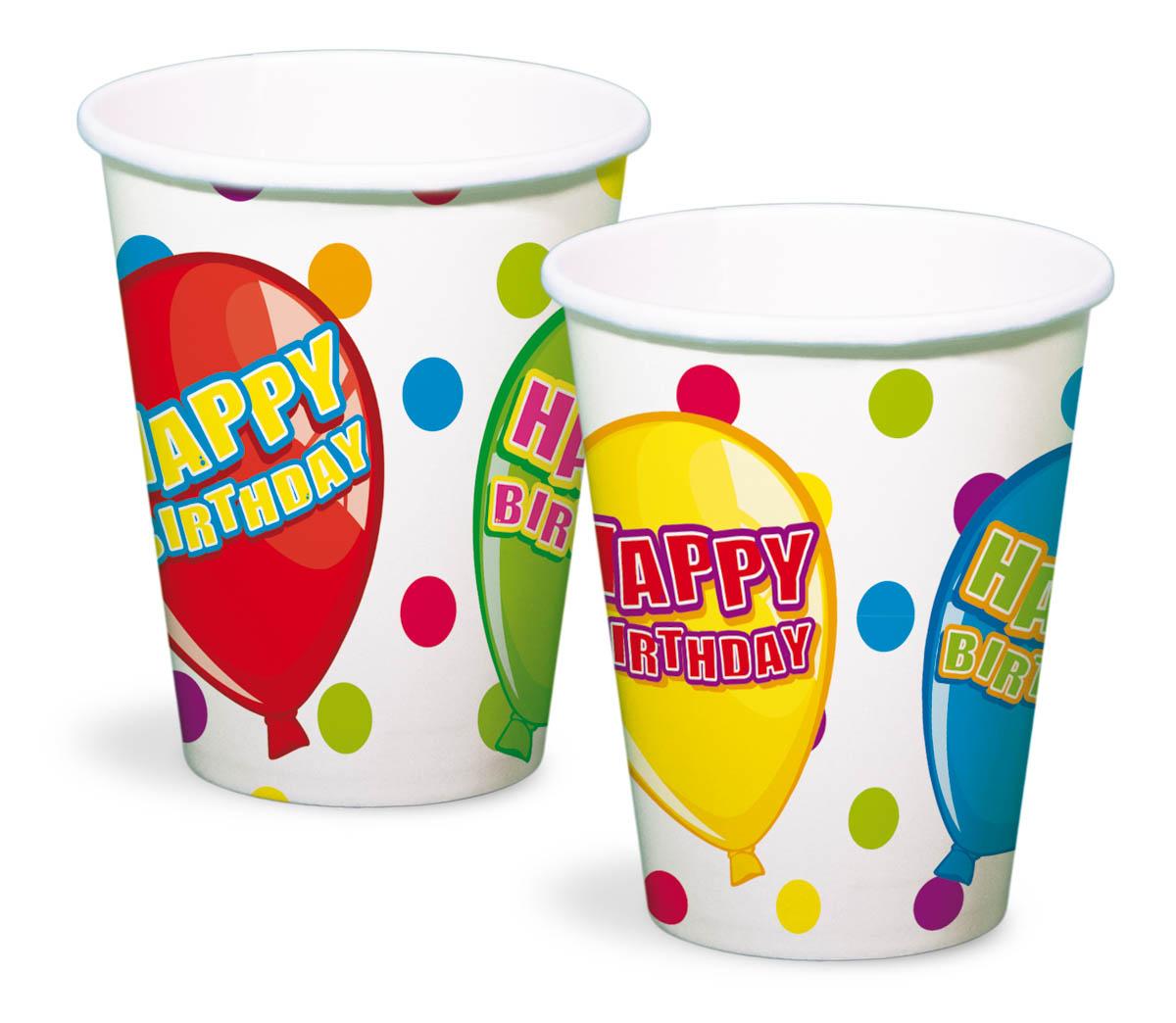 Happy Birthday Becher Geburtstag Pappbecher 6 Stück