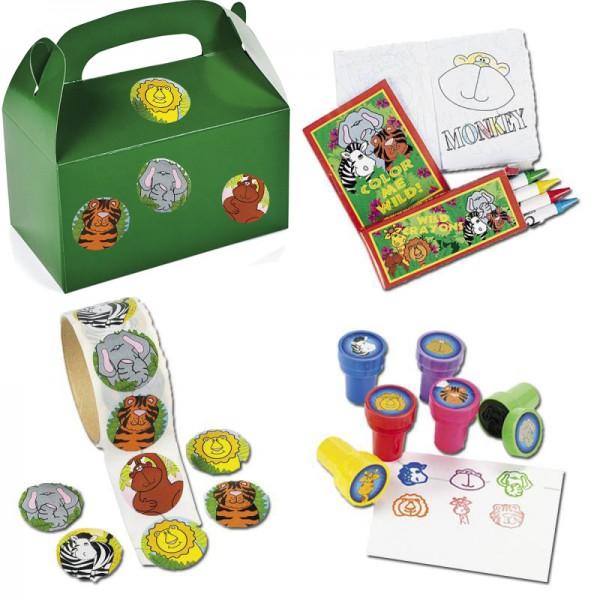 Safari Mitgebsel Set A mit 136 Teilen Geburtstagstüte Malset Stempel Aufkleber