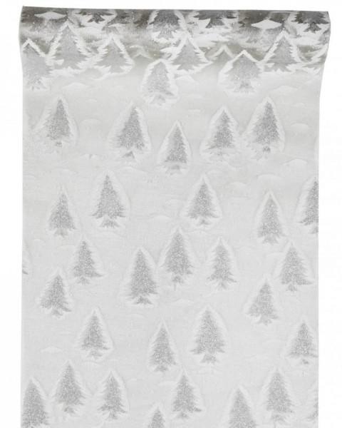 Tischläufer silber mit glitzernden Weinachtsbäumen Organza 5 Meter Rolle