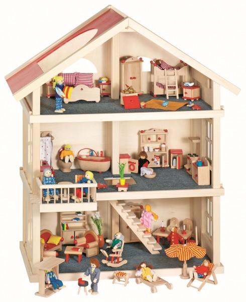 Puppenhaus von goki 3 Etagen mit 5 Zimmereinrichtungen aus Holz