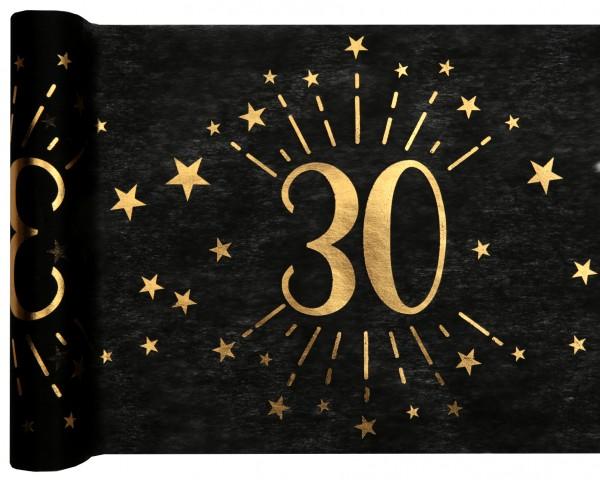 Tischläufer Vlies schwarz mit Zahl 30 Gold 5m Geburtstag