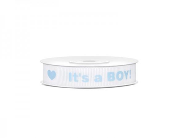 Geschenkband Schleifenband It´s a Boy Babyparty blau 10m Rolle