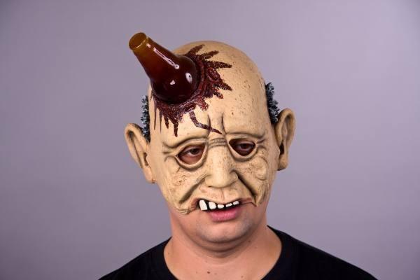 Halloween Maske, Halbmaske Bierleiche mit Flasche im Schädel