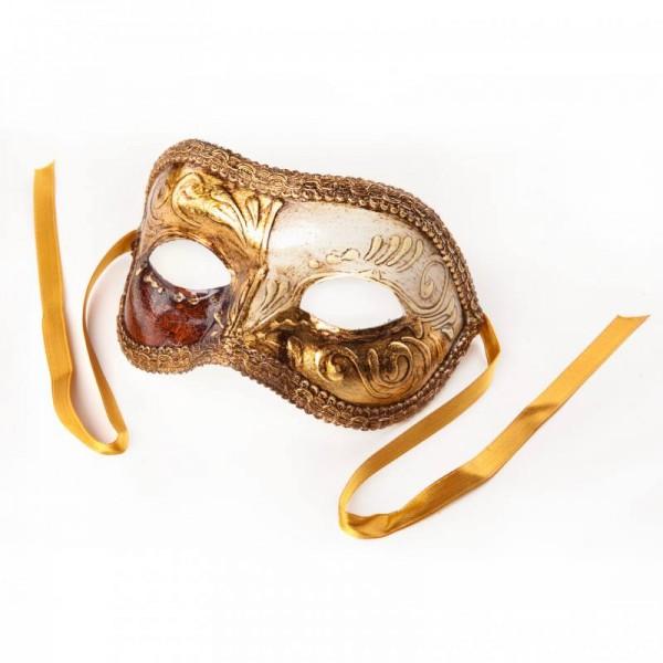 Venezianische Maske Colombina Gold Weiß Wurzelholz