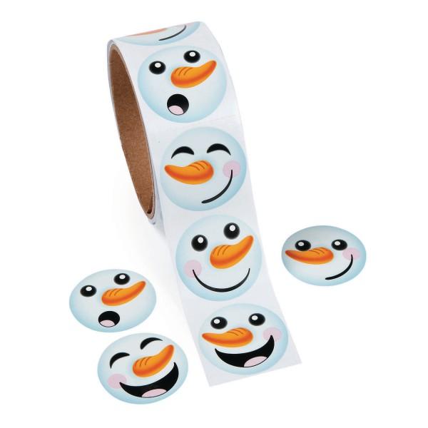 Lustige Schneemann Gesichter Aufkleber Sticker 100 Stück