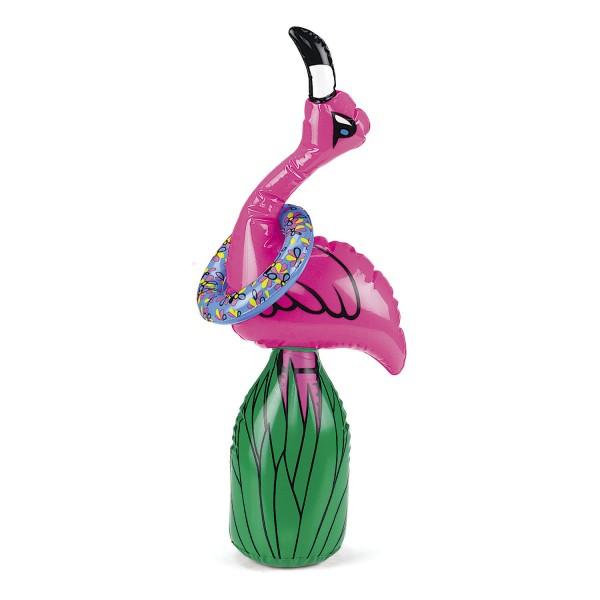Ringwurfspiel aufblasbar mit Flamingo und vier aufblasbaren Ring