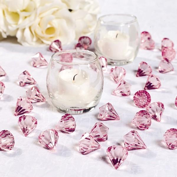 Dekosteine Diamanten aus Plastik Rosa Tischdeko Streuteile 25 Stück