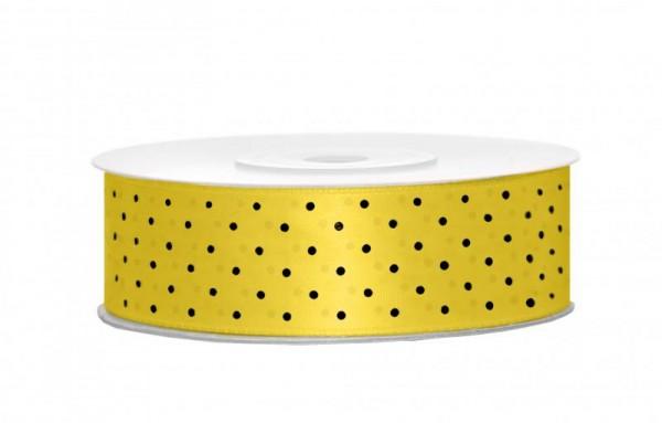Geschenkband Schleifenband Gelb mit Schwarzen Punkten 25m Rolle