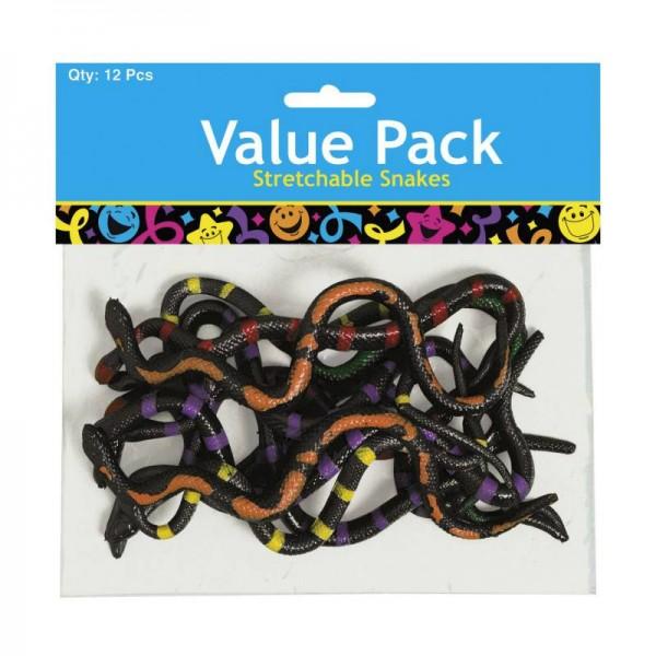 Schlangen Spielfiguren klebrig und dehnbar 12 Stück