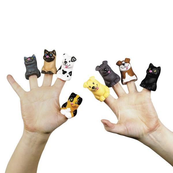 Fingerpuppen Hund und Katze 8 Stück