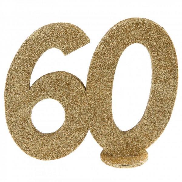 XXL Tischdeko Zahl 60 Geburtstag Gold Glitzer 1 Stück