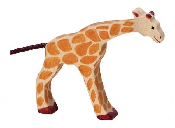 Giraffe klein trinkend Safari Holzfigur Holzspielzeug von Holztiger