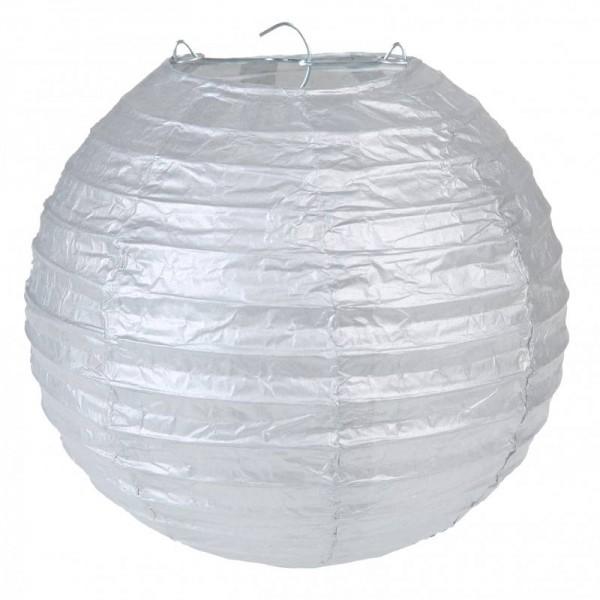 Laternen Lampions Silber Metallic 20cm Durchmesser 2 Stück