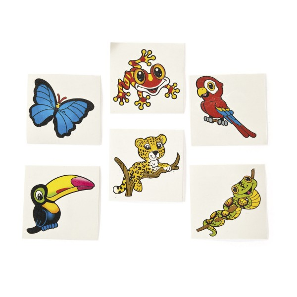 Kinder Tattoo Dschungelfreunde 36 Stück in 6 Motiven