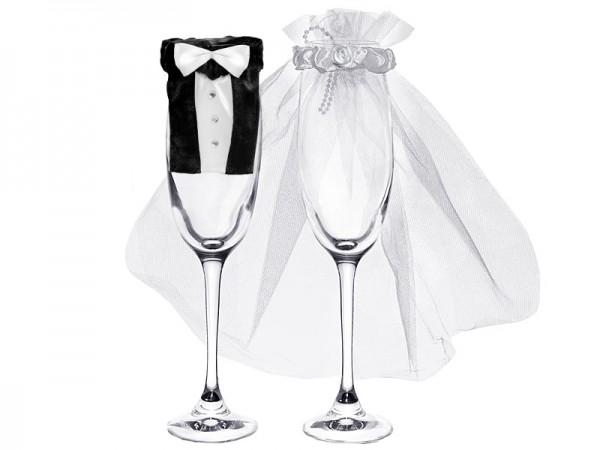 Sektglas-Deko Brautpaar Bräutigam und Braut 1 Paar