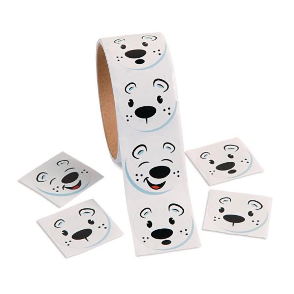 Lustige Eisbären Gesichter Aufkleber Sticker 100 Stück