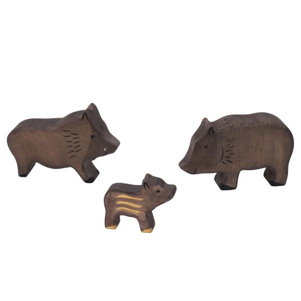Holztiger Wildschwein Set mit 3 Holzfiguren