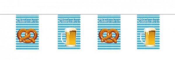 Oktoberfest Wimpelkette Girlande mit Bayrischer Raute, Bier und Bretzel